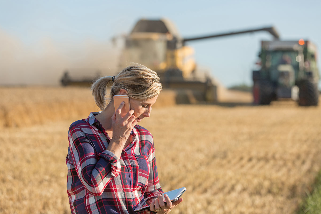 Farmer in wheatfield using a smartphone and tablet.